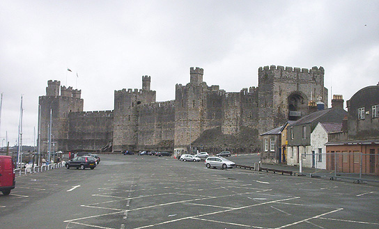 Castle with car park in front