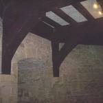 Beams inside castle tower