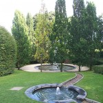Fountain pools in garden