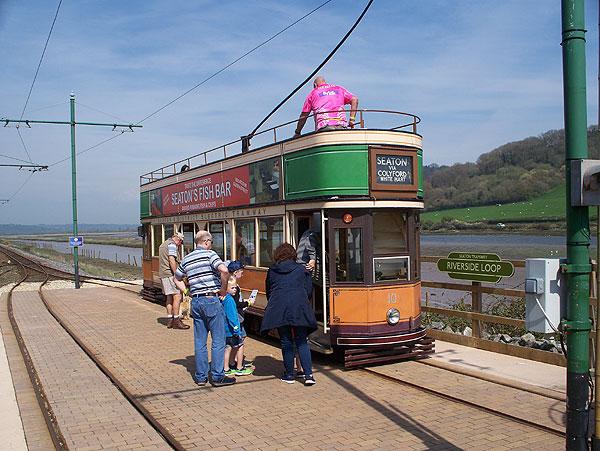 Tram at depot loop